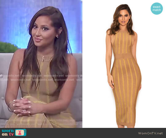 'Marzena' Camel and- Gold Self Stripe Bandage Midi Dress by House of CB worn by Adrienne Houghton on The Real