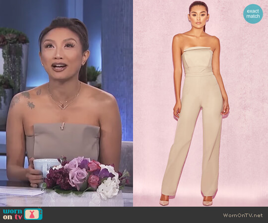 Silver Mink Strapless Panel Front Jumpsuit by House of CB worn by Jeannie Mai  on The Real