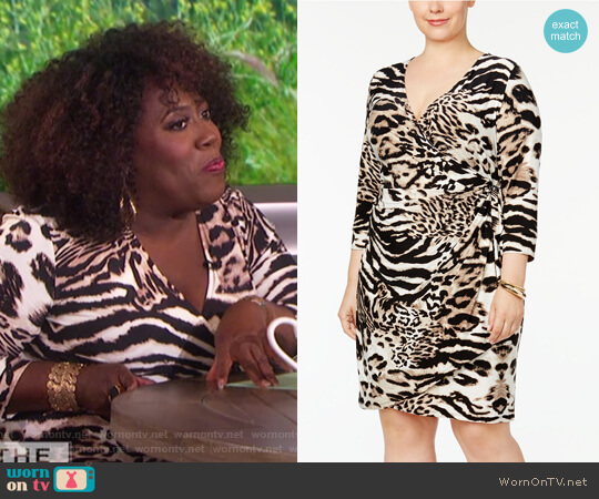Animal-Print Wrap Dress by INC International Concepts worn by Sheryl Underwood on The Talk