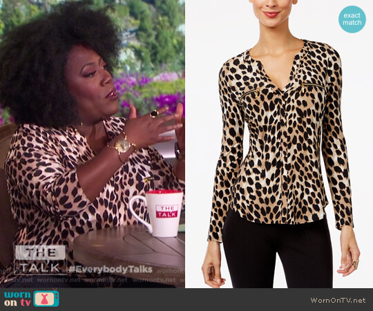 Printed Zip-Pocket Blouse by INC International Concepts worn by Sheryl Underwood on The Talk