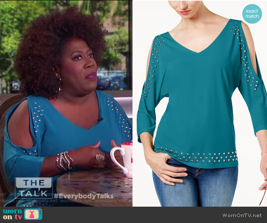 Studded Cold-Shoulder Top by INC International Concepts worn by Sheryl Underwood on The Talk