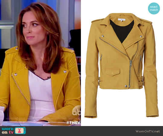 Ashville Yellow Cropped Leather Jacket by IRO worn by Jedediah Bila on The View