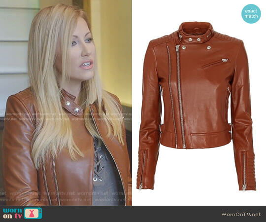 'Luciana' Leather Jacket by IRO worn by Stephanie Hollman  on The Real Housewives of Dallas