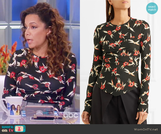 Domino ruched floral-print stretch-crepe top by Isabel Marant worn by Sunny Hostin  on The View