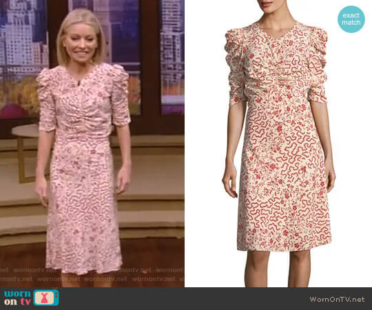 Gresham Ruched Half-Sleeve Dress by Isabel Marant worn by Kelly Ripa on Live with Kelly & Ryan