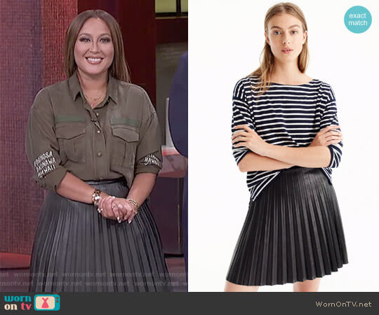 Faux-Leather Pleated Mini Skirt by J. Crew worn by Adrienne Houghton  on The Real