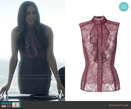 J Mendel Lace Ruffle Blouse worn by Meghan Markle on Suits