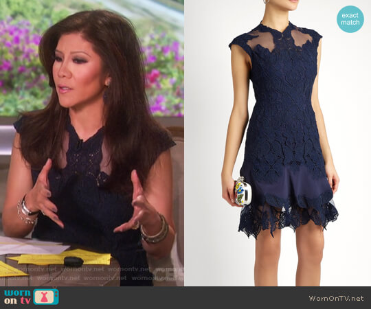 Mesh-insert fluted-hem lace dress by Jonathan Simkhai worn by Julie Chen on The Talk
