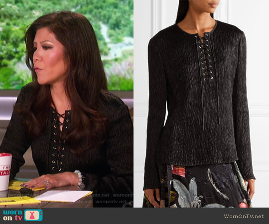 Lace-up Long Sleeve Top by Jason Wu worn by Julie Chen  on The Talk