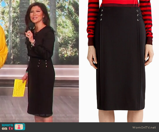 Soft Stretch Crepe Pencil Skirt by Jason Wu worn by Julie Chen on The Talk