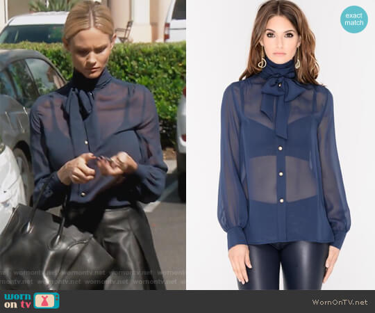 Bella Silk Chiffon Blouse by J.Dosi worn by Meghan King Edmonds  on The Real Housewives of Orange County