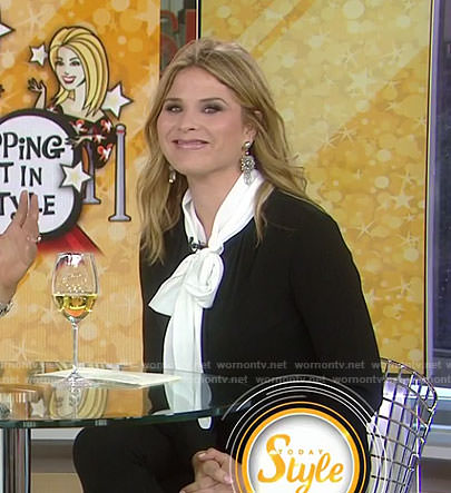 Jenna's black and white tie blouse on Today