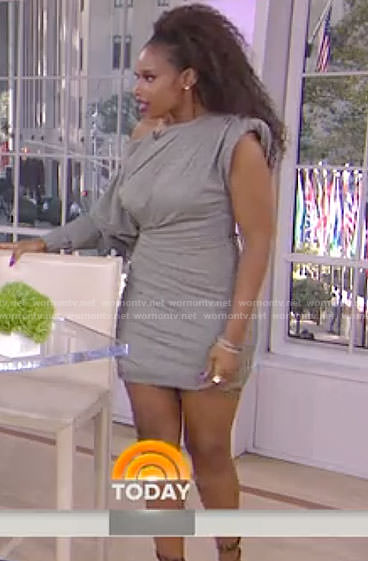 Jennifer Hudson's grey plaid one-shoulder mini dress on Today
