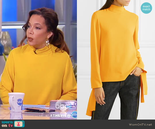 Todd cady turtleneck top by Joseph worn by Sunny Hostin on The View