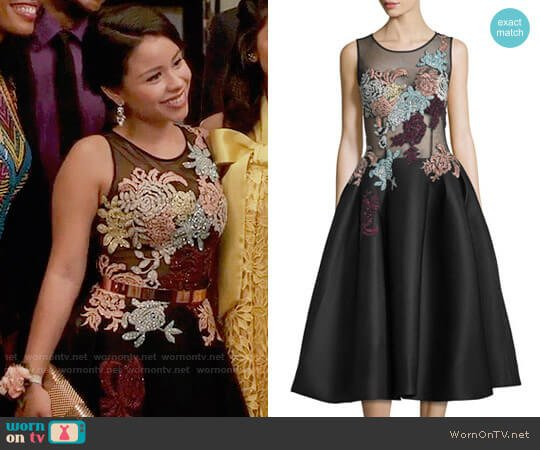 Jovani Sleeveless Embroidered Fit & Flare Dress worn by Cierra Ramirez on The Fosters