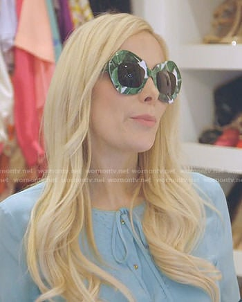 Kameron's banana leaf print sunglasses on The Real Housewives of Dallas