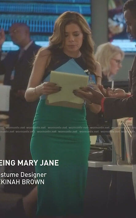 Kara's blue and green colorblock dress on Being Mary Jane