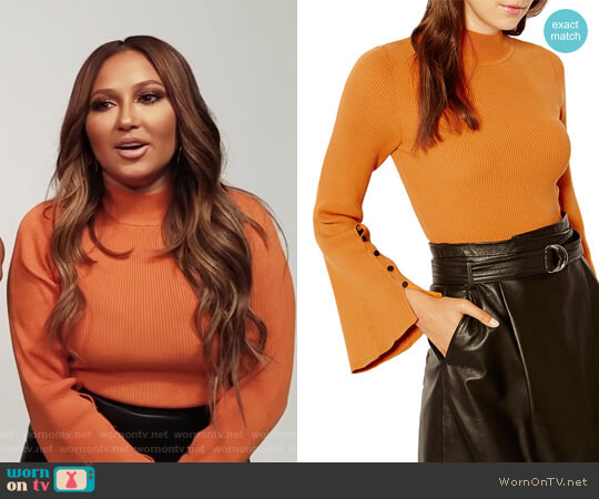 Bell Sleeve Ribbed Sweater by Karen Millen worn by Adrienne Houghton (Adrienne Houghton) on The Real