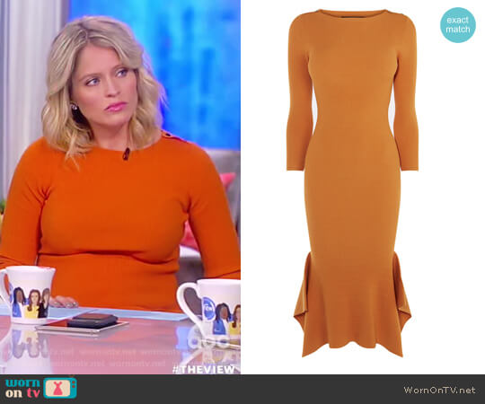 Frill Hem Knitted Midi Dress by Karen Millen worn by Sara Haines  on The View