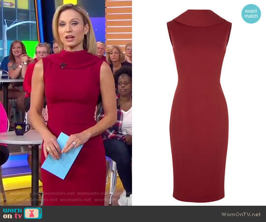 High Neck Pencil Dress by Karen Millen worn by Amy Robach on Good Morning America