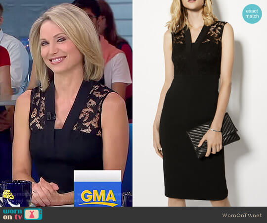 Lace V-Neck Plunge Dress by Karen Millen worn by Amy Robach on Good Morning America