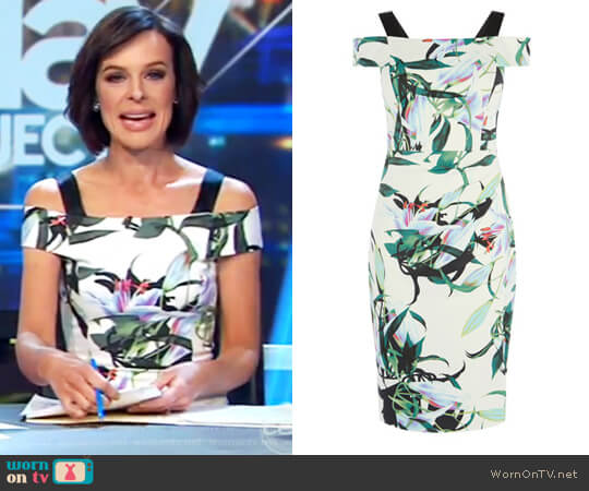 Lily Print Pencil Dress by Karen Millen worn by Natarsha Belling on The Project