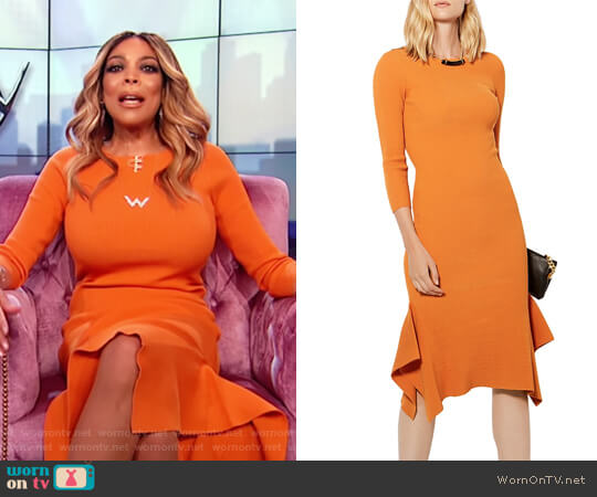 Frill Hem Knitted Midi Dress by Karen Millen worn by Wendy Williams on The Wendy Williams Show