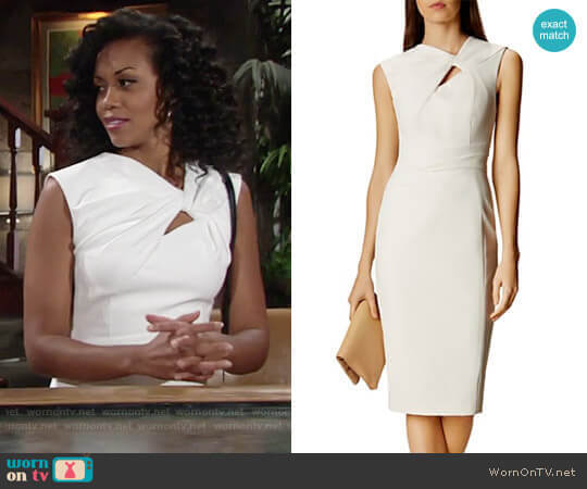 Karen Millen Twist-Front Sheath Dress worn by Mishael Morgan on The Young & the Restless
