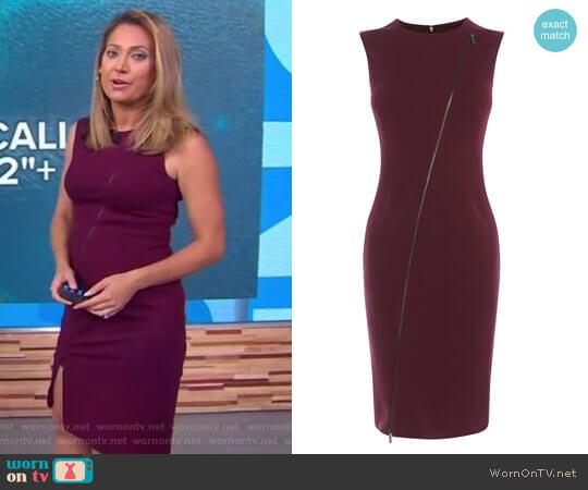 Zip-Front Pencil Dress by Karen Millen worn by Ginger Zee on Good Morning America
