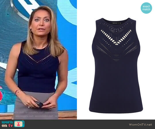 Open Knit Top by Karen Millen worn by Ginger Zee on Good Morning America