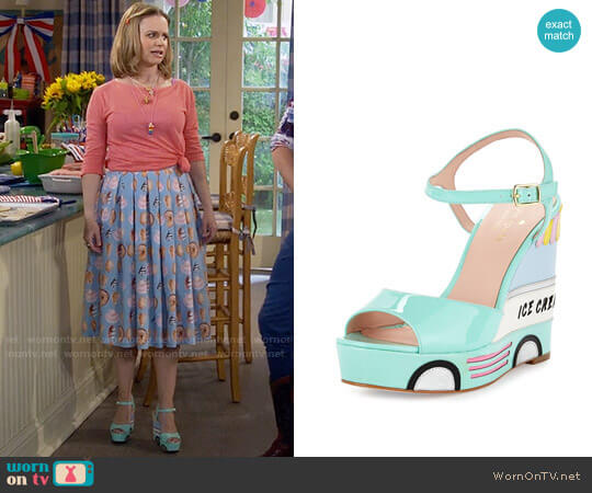 Kate Spade Dotty Ice Cream Wedge Sandal worn by Kimmy Gibbler (Andrea Barber) on Fuller House