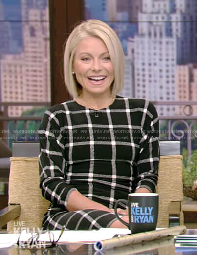 Kelly's black grid dress on Live with Kelly and Ryan