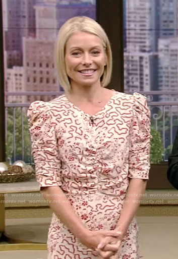 Kelly's white floral ruched sleeve dress on Live with Kelly and Ryan