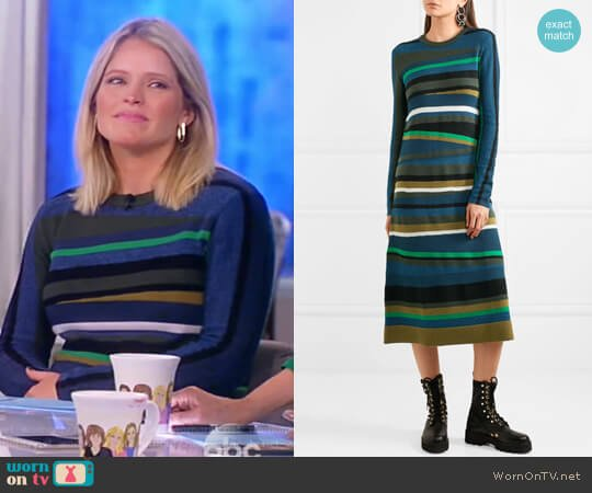 Striped knitted midi dress by Kenzo worn by Sara Haines  on The View