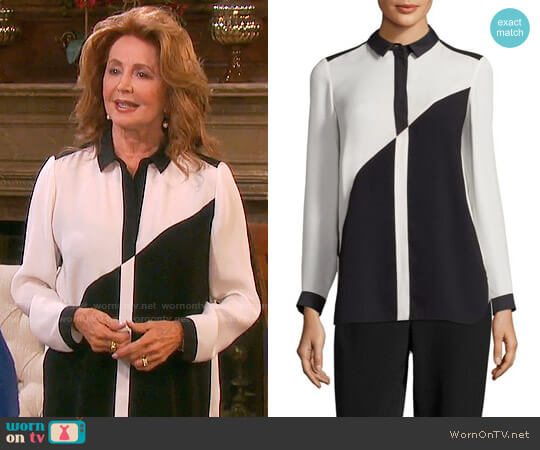 Lafayette 148 New York Jamila Colorblock Blouse worn by Suzanne Rogers on Days of our Lives
