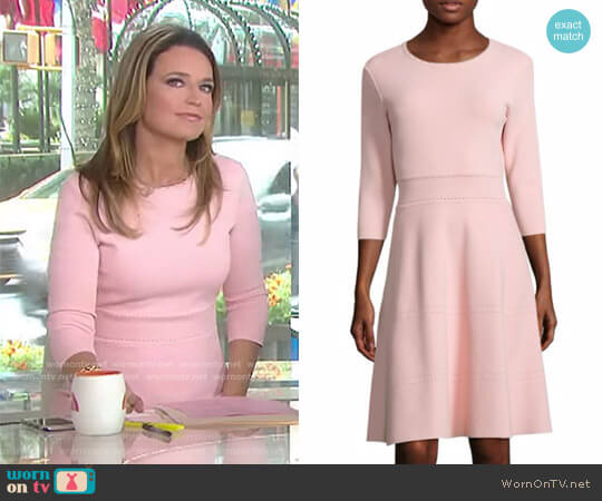 Three Quarter Sleeve Knit Dress by Lela Rose worn by Savannah Guthrie on Today