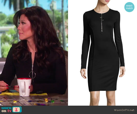 Long-Sleeve Half-Zip Mini Dress by Thierry Mugler worn by Julie Chen  on The Talk