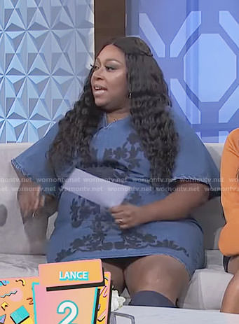 Loni's floral denim dress on The Real