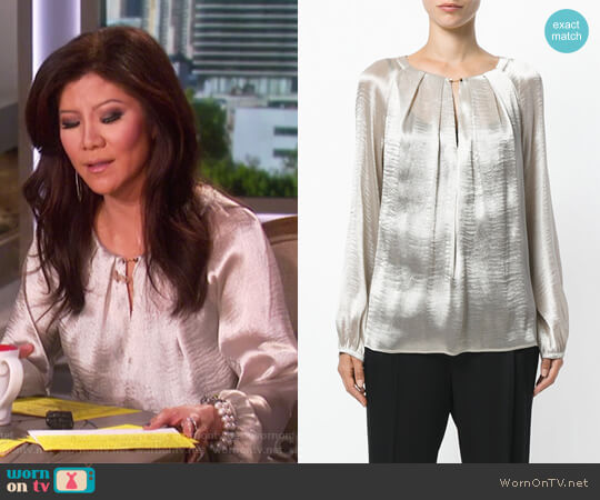 Chain Fastening Pleat Blouse by Max Mara worn by Julie Chen  on The Talk
