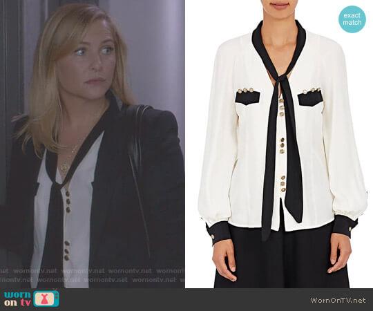Silk Tieneck Blouse by Maison Mayle worn by Arizona Robbins (Jessica Capshaw) on Greys Anatomy