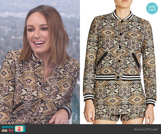 'Baslira' Tapestry-Inspired Jacquard Bomber Jacket by Maje worn by Catt Sadler on E! News