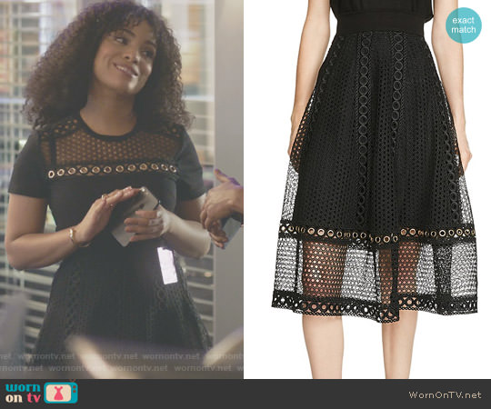 'Jenner' Lace Midi Skirt by Maje worn by Raney Branch on Being Mary Jane