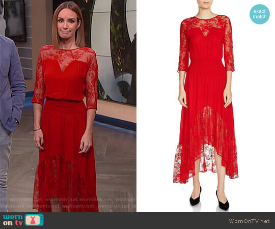 'Ritema' Asymmetric Lace Midi Dress by Maje worn by Catt Sadler  on E! News