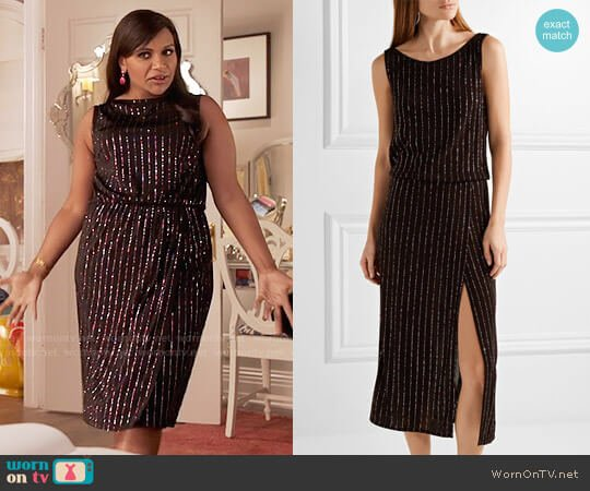 Marc Jacobs Glitter Pinstripe Dress worn by Mindy Lahiri (Mindy Kaling) on The Mindy Project