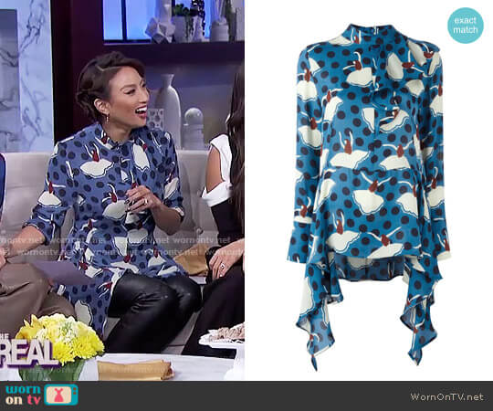 Ballerina Print Draped Blouse by Marni worn by Jeannie Mai  on The Real