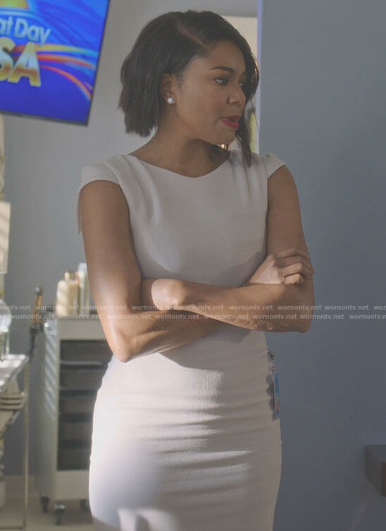 Mary Jane's white crepe dress on Being Mary Jane