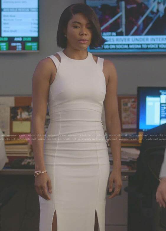 Mary Jane's white cutout midi dress with slits on Being Mary Jane