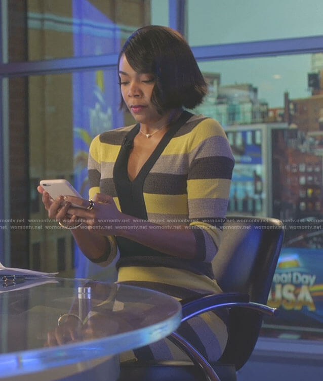 Mary Jane's yellow and grey striped dress on Being Mary Jane