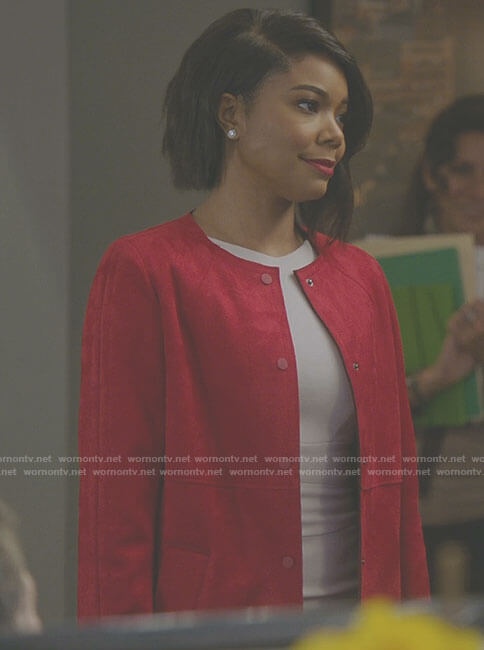 Mary Jane's red round neck suede coat on Being Mary Jane