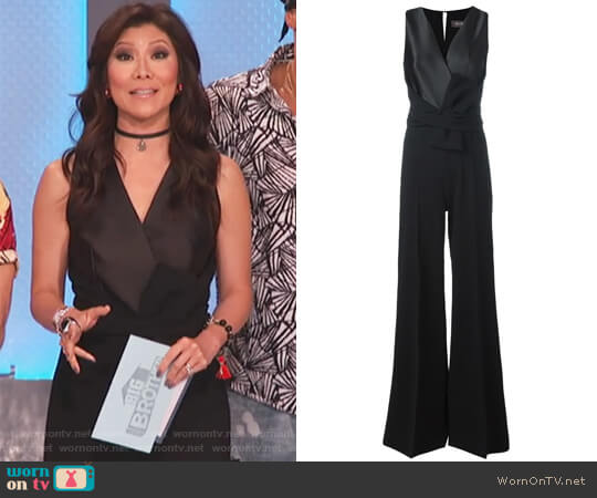 Black silk blend V neck jumpsuit by Max Mara worn by Julie Chen  on Big Brother